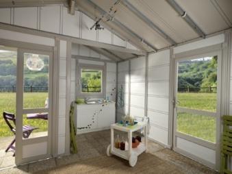 Grosfillex Gartenhaus Deco 20B Kunststoff grau-grün 493 x 403 cm Bild 3