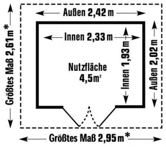 Grosfillex Gerätehaus Deco H 4,9 Kunststoff 242x202cm grau-blau Bild 2