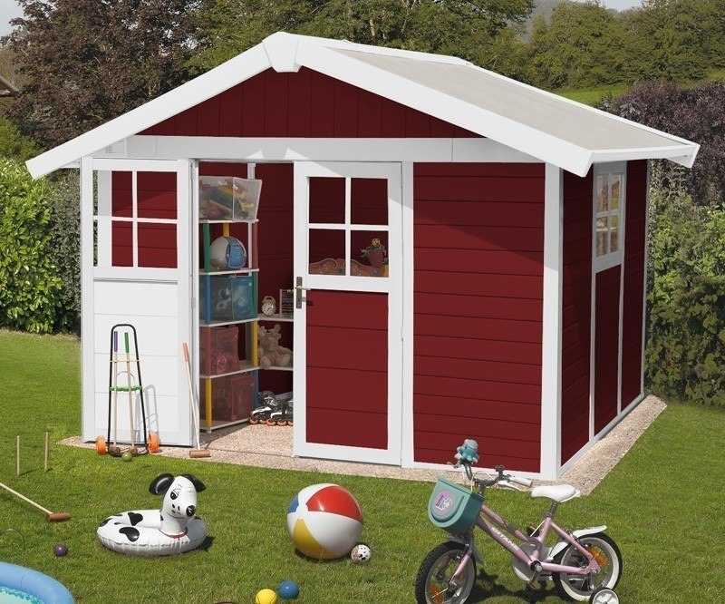 Grosfillex Gerätehaus Deco H 7,5 Kunststoff 315x239cm rot Bild 1