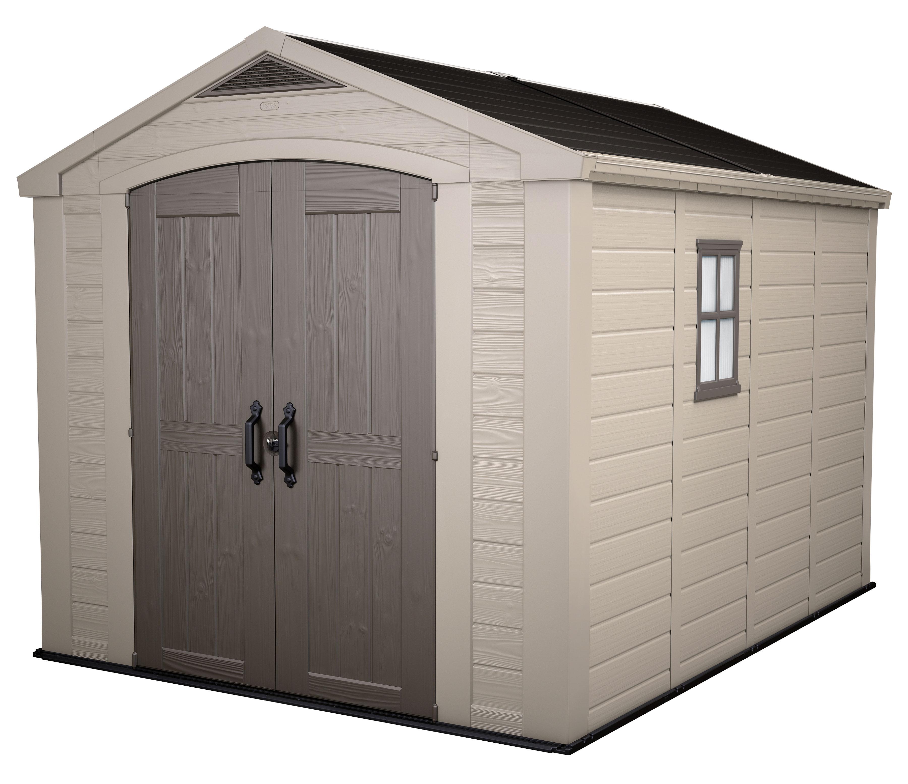 tepro kunststoff gartenhaus factor 8x11 kunststoff taupe. Black Bedroom Furniture Sets. Home Design Ideas