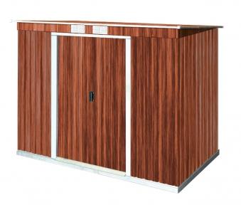 Duramax ger tehaus metall pultdach pent roof 8x4 holzoptik for Gartenhaus metall pultdach