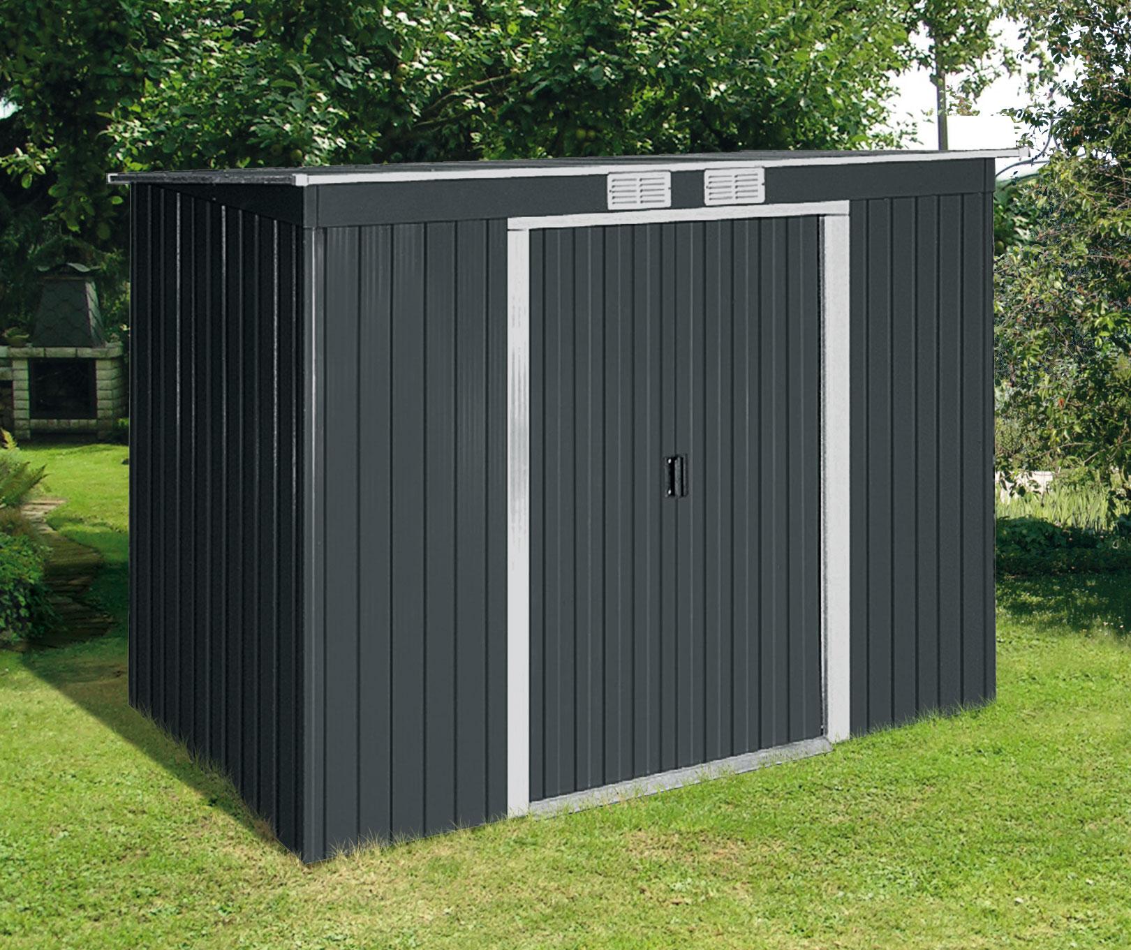 Duramax Gerätehaus Metall Pultdach Pent Roof 8x4 anthrazit