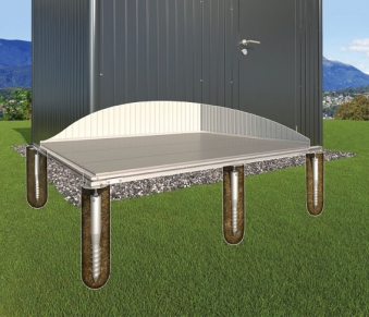 Erdschrauben Fundament für Biohort Gartenhaus Europa 2