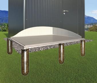 Erdschrauben Fundament für Biohort Gartenhaus HighLine H1
