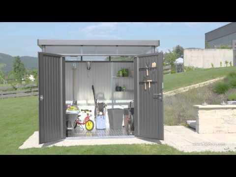 Gerätehaus Biohort HighLine H5 silber-metallic DT 275x315cm Video Screenshot 1252
