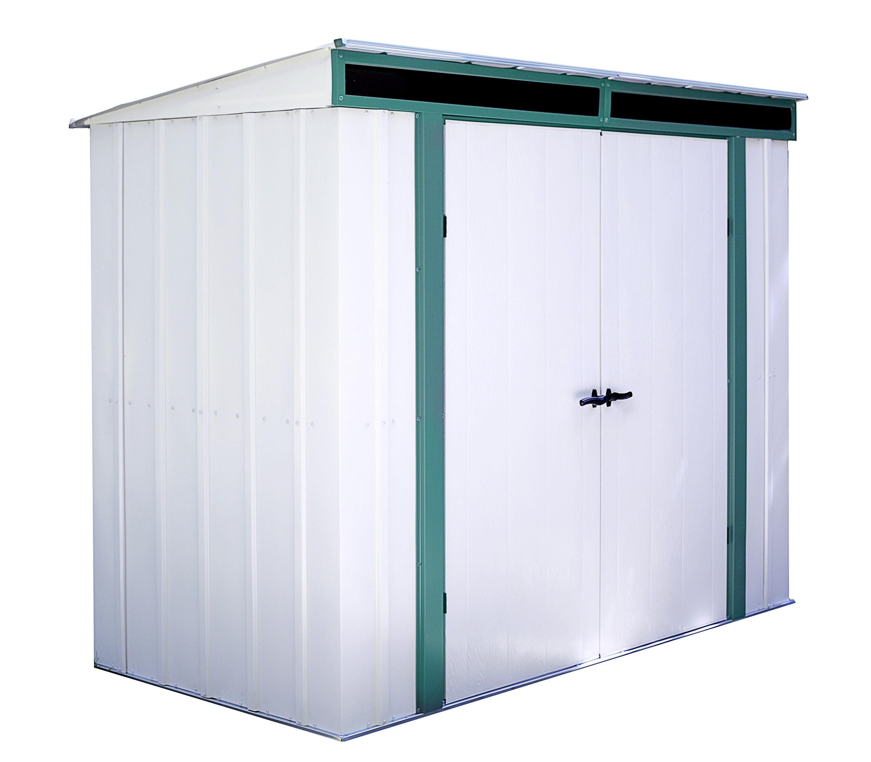 Gartenhaus 24 Qm Selber Bauen Gartenhaus Hersteller 24 De: ARROW Metall Gerätehaus Euro-Lite 84 Weiß/braun 254x130cm
