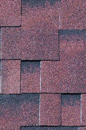 Bitumen-Dachschindeln Karibu asymmetrisch selbstklebend rot geflammt 3m² Bild 1