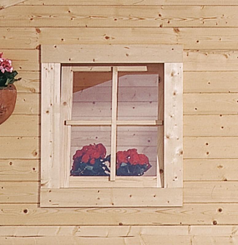 Dreh- und Kippfenster für Karibu Gartenhaus 28mm 69x80cm natur Bild 1