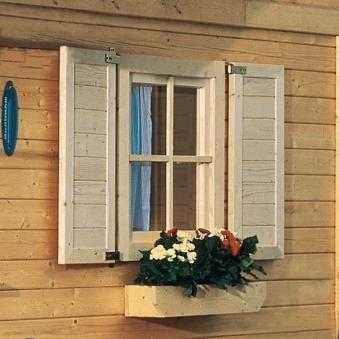 Fensterläden für Karibu Gartenhäuser und Pavillons 28 mm Einzelfenster