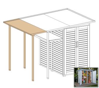 Erweiterung Family für WEKA Gerätehaus GartenQ grau/weiß 200x73cm Bild 1