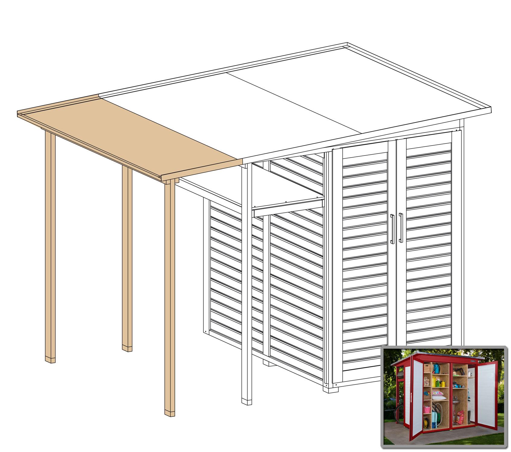 Erweiterung Family für WEKA Gerätehaus GartenQ schwedenrot 200x73cm Bild 1