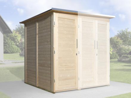 Erweiterungsbausatz für WEKA Gerätehaus GartenQ 2 Türen natur Bild 1