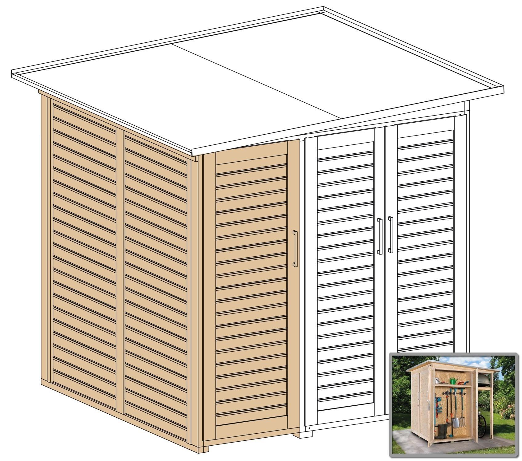 Erweiterungsbausatz für WEKA Gerätehaus GartenQ 2 Türen natur Bild 2