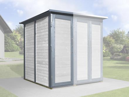 Erweiterungsbausatz für WEKA Gerätehaus GartenQ mit 2 Türen grau Bild 1