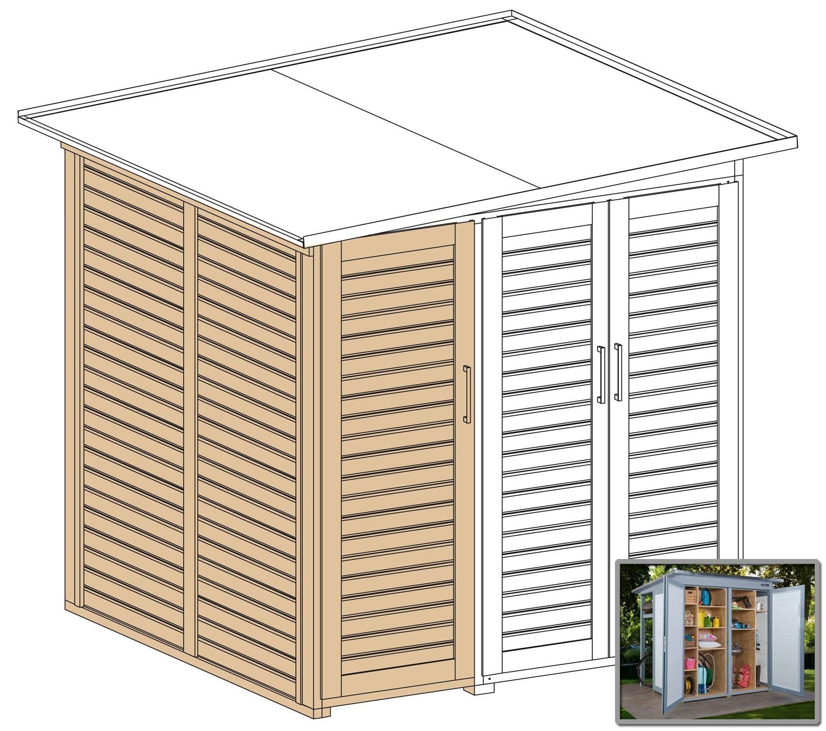 Erweiterungsbausatz für WEKA Gerätehaus GartenQ mit 2 Türen grau Bild 2