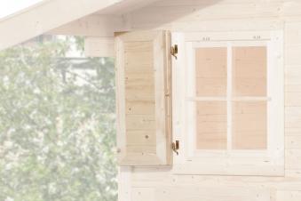 Fensterladen für Weka Gartenhaus 2-teilig einseitig 69x79cm Bild 1