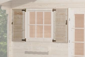 Fensterladen für Weka Gartenhaus 2-teilig zweiseitig 69x79cm Bild 1