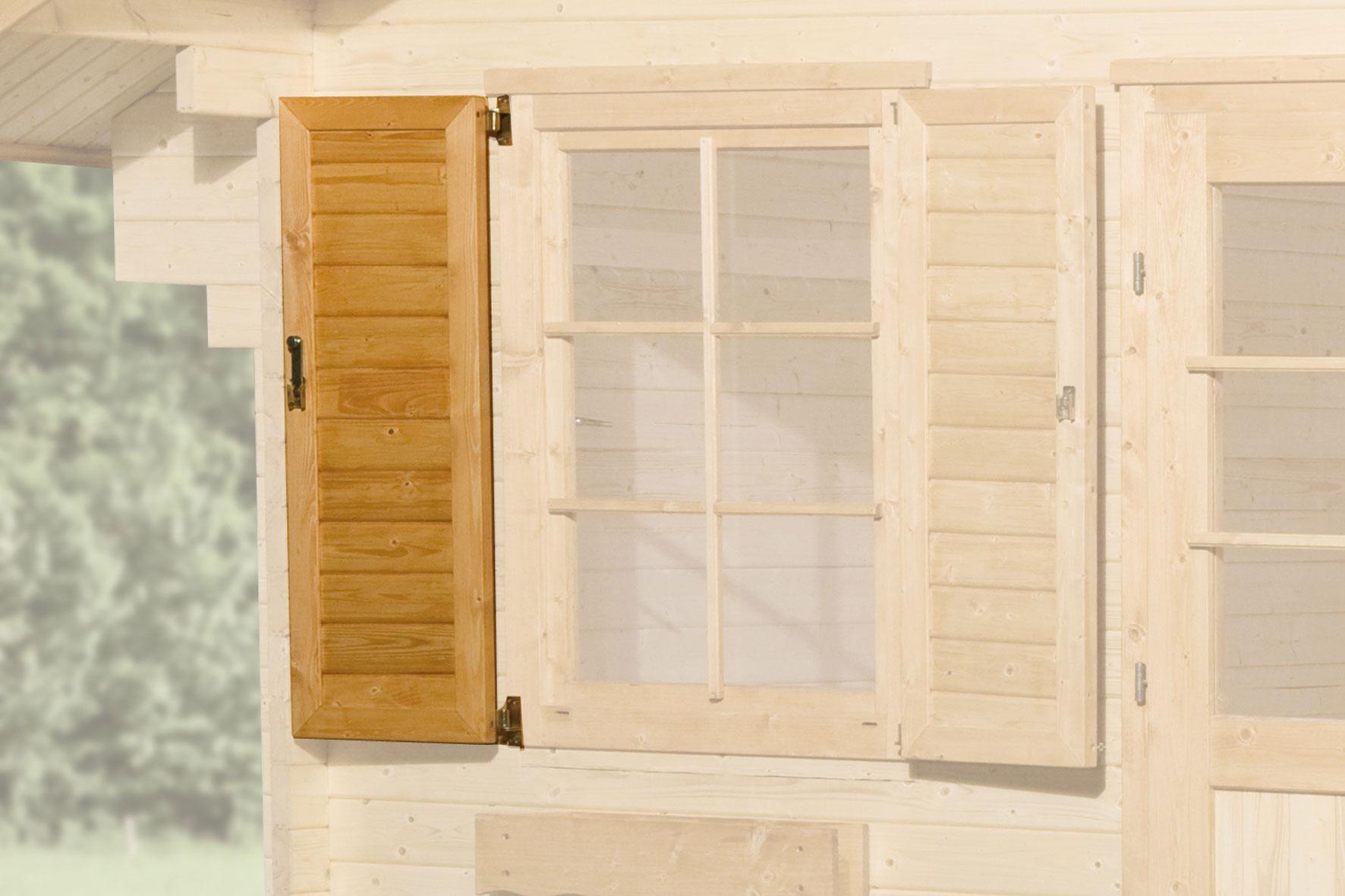 fensterladen f r weka gartenhaus mediterrana einseitig 84x113cm bei. Black Bedroom Furniture Sets. Home Design Ideas