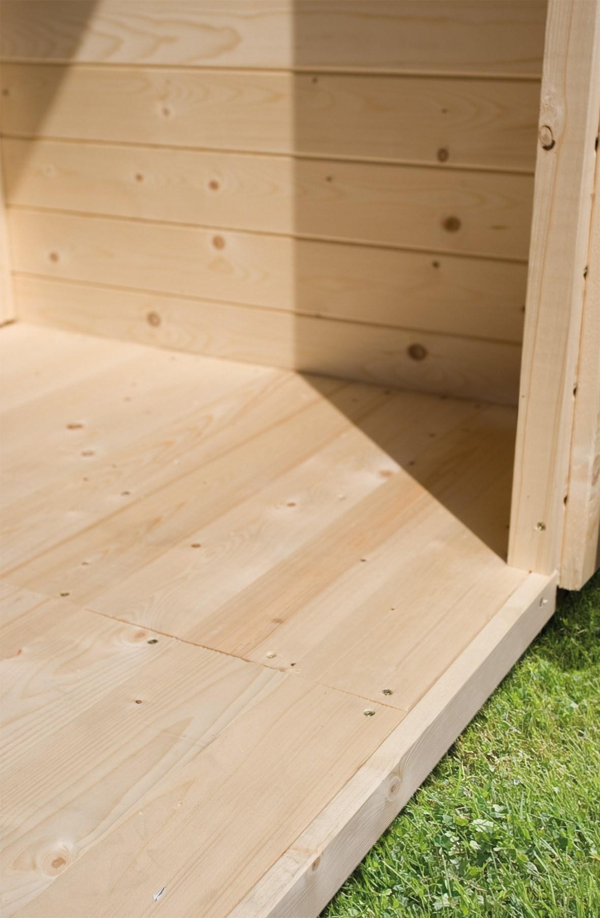 Fußboden Holz natur für Karibu Gartenhaus Sockelmaß 230x280cm Bild 1