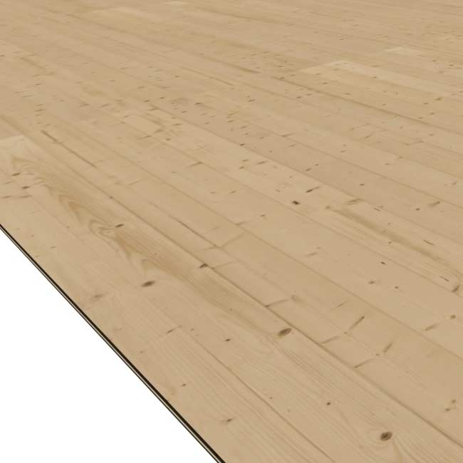 Fußboden Holz natur für Karibu Gartenhaus Sockelmaß 300x300cm Bild 1