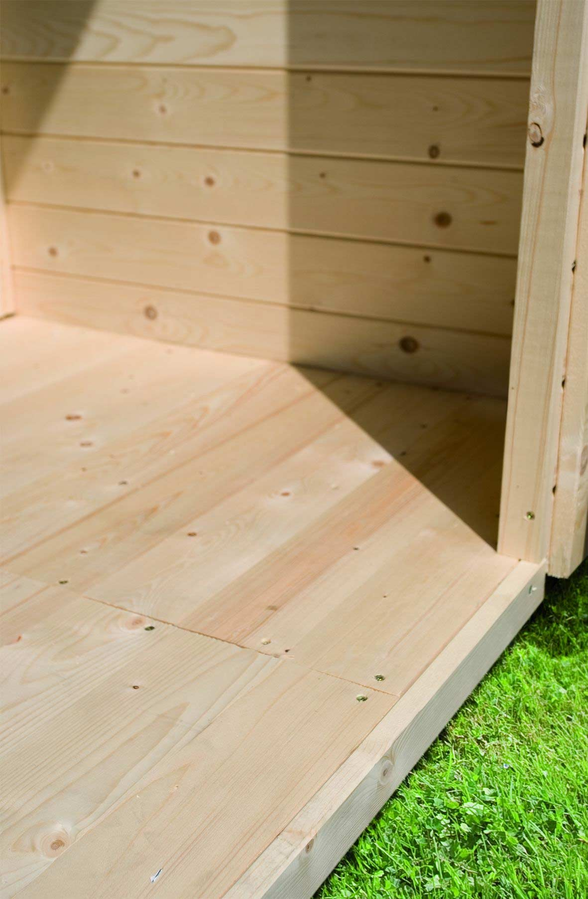 Fußboden Holz natur für Karibu Gartenhaus Sockelmaß 490x390cm Bild 1