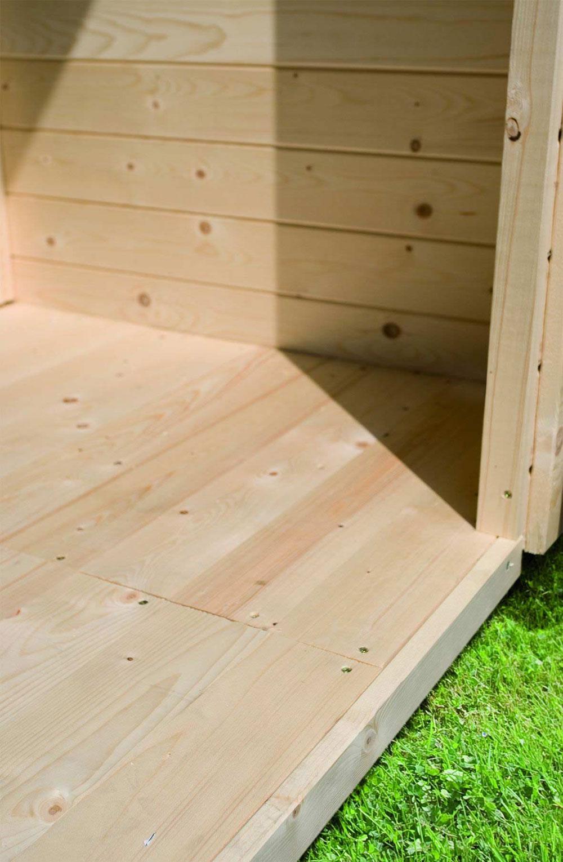 fu boden holz natur f r woodfeeling gartenhaus sockelma 242x242cm bei. Black Bedroom Furniture Sets. Home Design Ideas