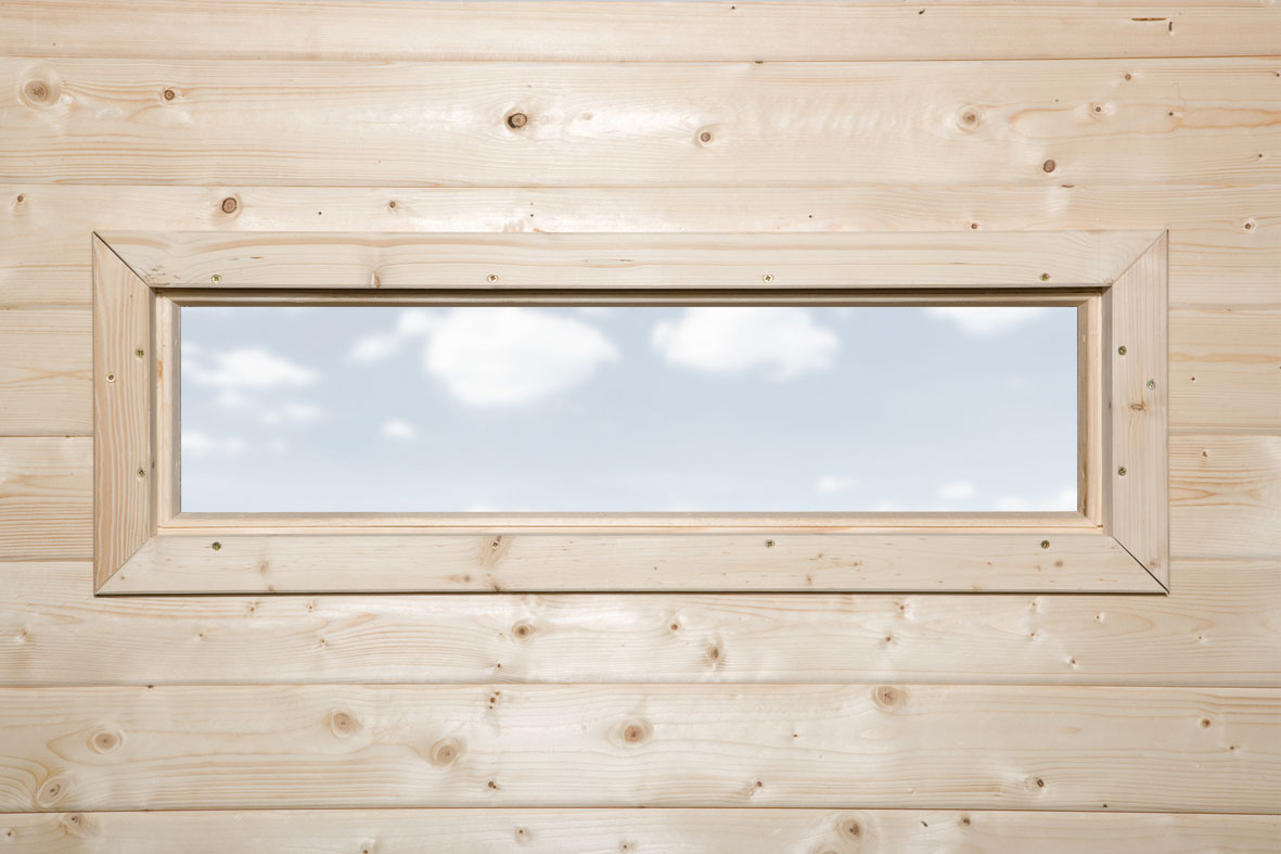 Gartenhausfenster für Wandstärke 28 mm natur 97x33cm Bild 1
