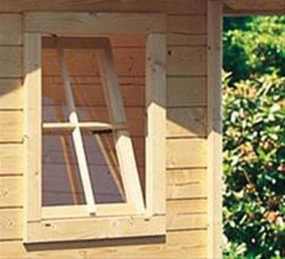 Gartenhausfenster für Wandstärke 38 mm 69x79,6cm Dreh- und Kipp natur Bild 1