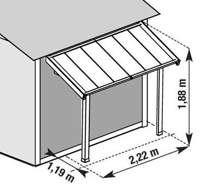 grosfillex schleppdach f r gartenhaus und ger tehaus 2 22x1 41x1 41m bei. Black Bedroom Furniture Sets. Home Design Ideas