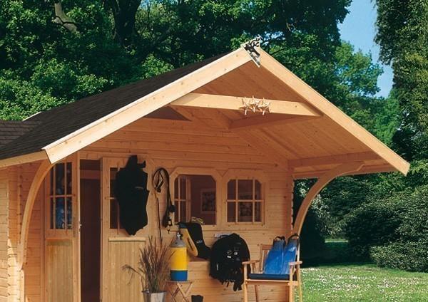 vordach mit rundb gen karibu f r gartenhaus doderic 180 cm natur bei. Black Bedroom Furniture Sets. Home Design Ideas