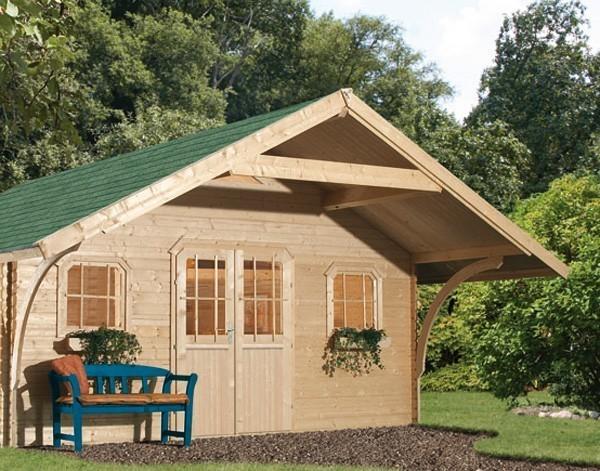 vordach mit rundb gen karibu f r gartenhaus girion 180 cm natur bild 1. Black Bedroom Furniture Sets. Home Design Ideas