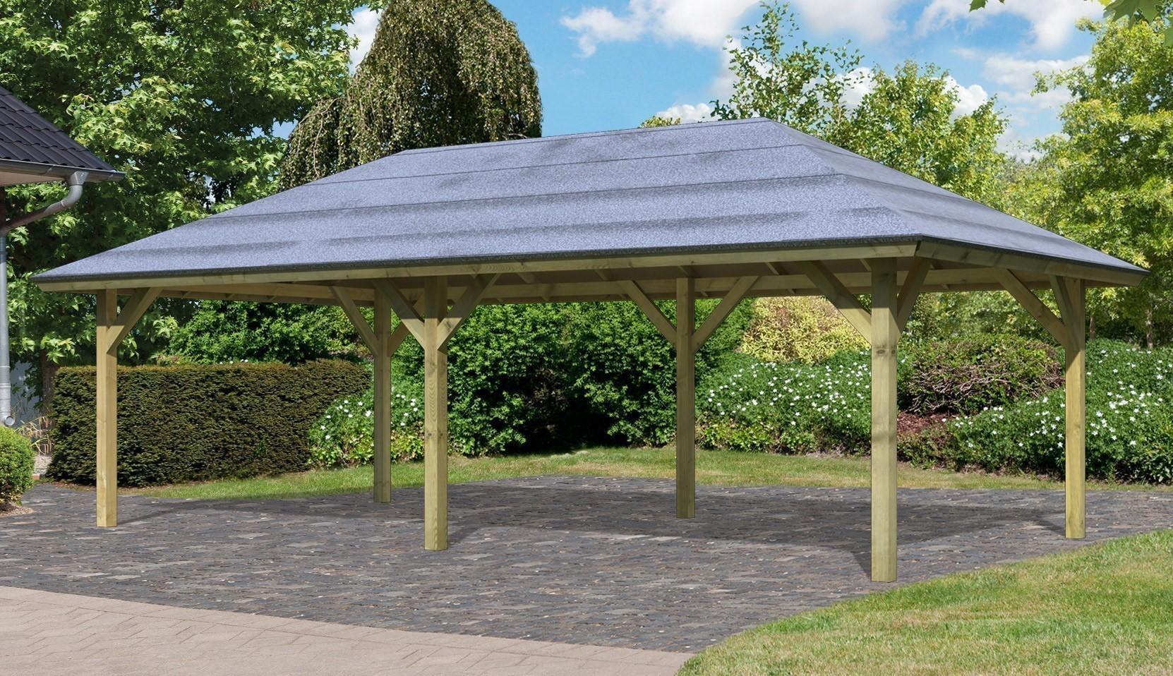 carport pavillon karibu classic kirn 2 walmdach 592 x338cm bei. Black Bedroom Furniture Sets. Home Design Ideas