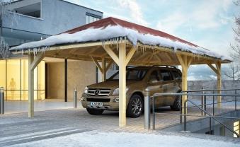 Carport / Pavillon Karibu Classic Kirn 2 Walmdach 592x338cm Bild 3