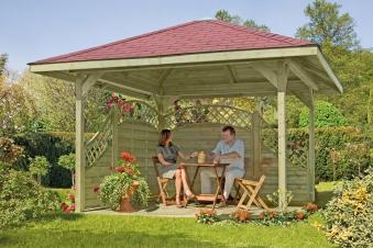 gartenlaube 4eck pavillon edigarden holz kdi 390x390cm bei. Black Bedroom Furniture Sets. Home Design Ideas