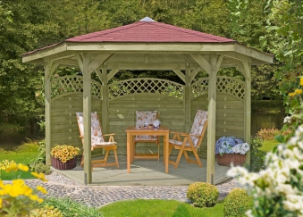 gartenlaube 6eck pavillon edigarden holz kdi 490cm bei. Black Bedroom Furniture Sets. Home Design Ideas