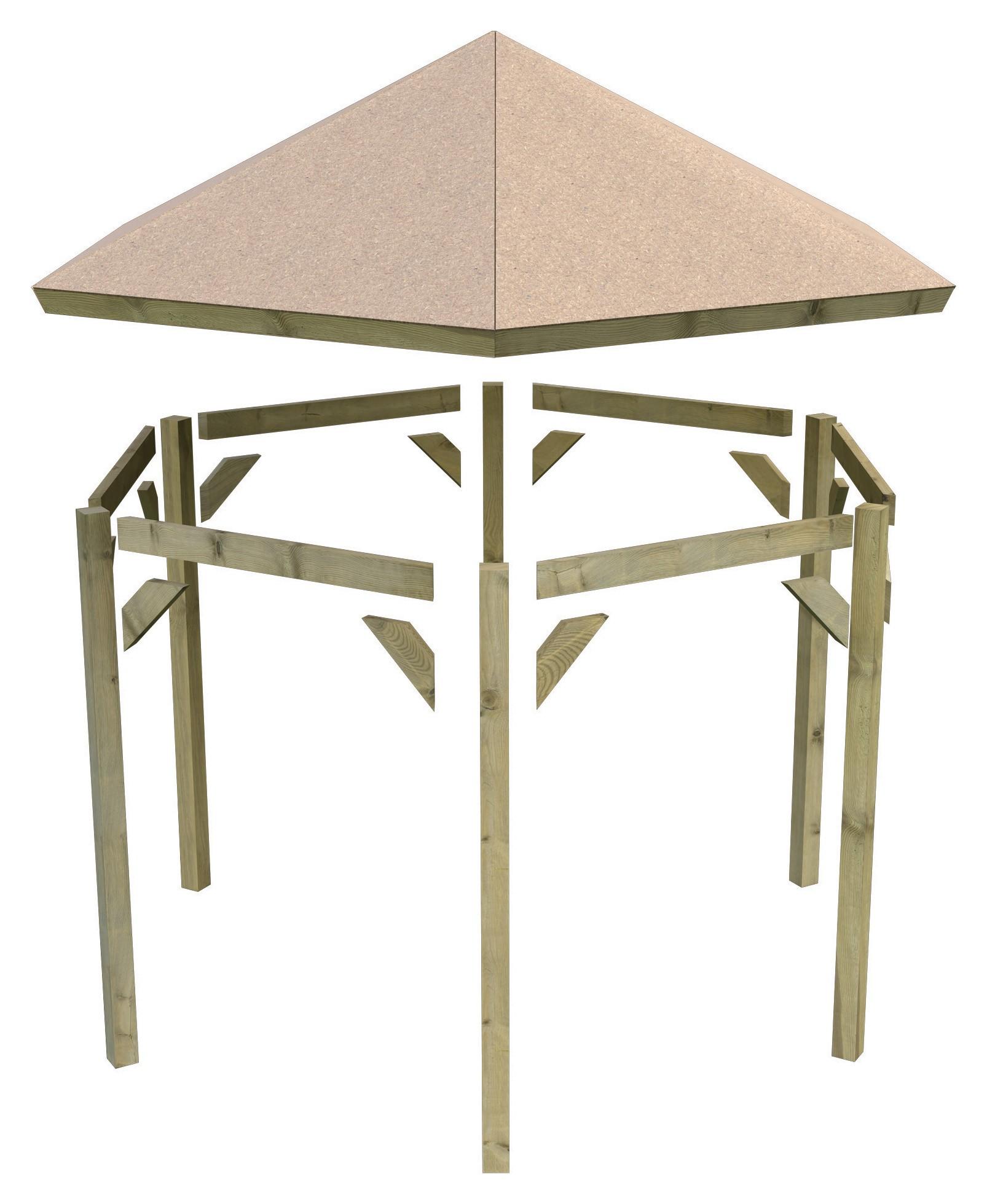 karibu gartenlaube madrid kdi 349x302cm sparset mit schindeln bei. Black Bedroom Furniture Sets. Home Design Ideas