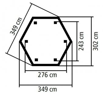 Karibu Gartenlaube Madrid kdi 349x302cm SPARSET mit Schindeln Bild 2