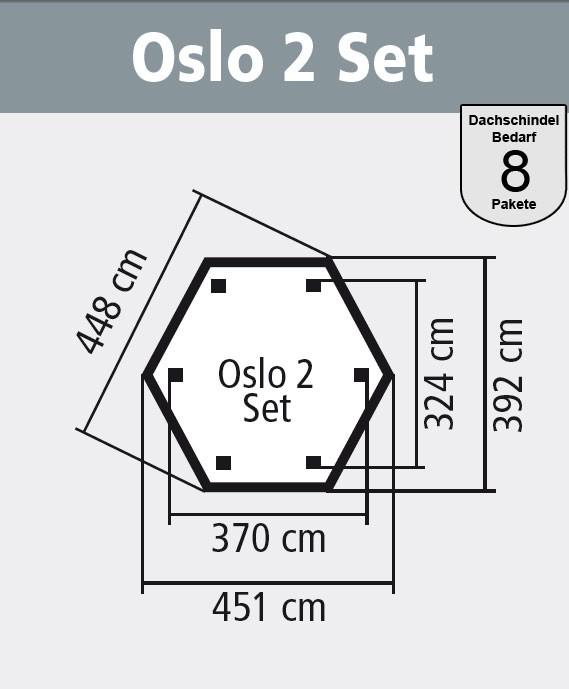 Karibu Gartenlaube Oslo 2 Set Classic kdi 451x392cm Bild 2