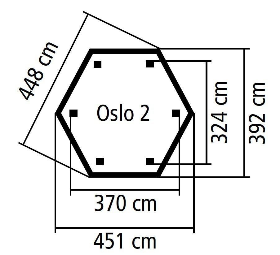 Karibu Gartenlaube Oslo 2 kdi 451x392cm SPARSET mit Schindeln Bild 2