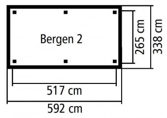 Karibu Holzpavillon Bergen 2 kdi 592x338cm SPARSET mit Schindeln Bild 3