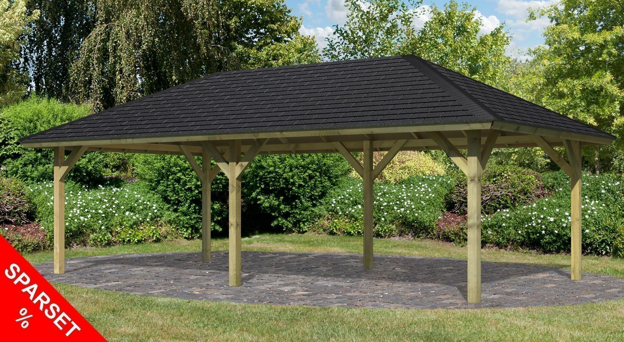karibu holzpavillon carport holm 2 kdi 778x431cm sparset schindeln bei. Black Bedroom Furniture Sets. Home Design Ideas