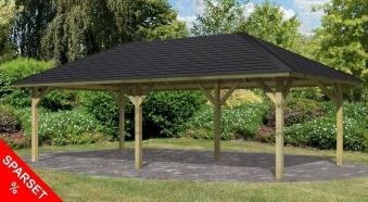 Karibu Holzpavillon & Carport Holm 2 kdi 778x431cm SPARSET Schindeln Bild 1