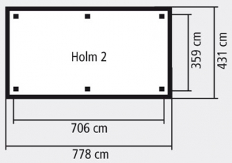 Karibu Holzpavillon & Carport Holm 2 kdi 778x431cm Bild 2
