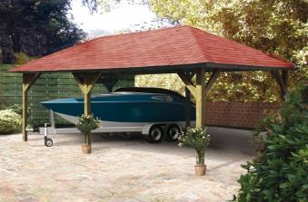 Karibu Holzpavillon & Carport Holm 2 kdi 778x431cm Bild 3