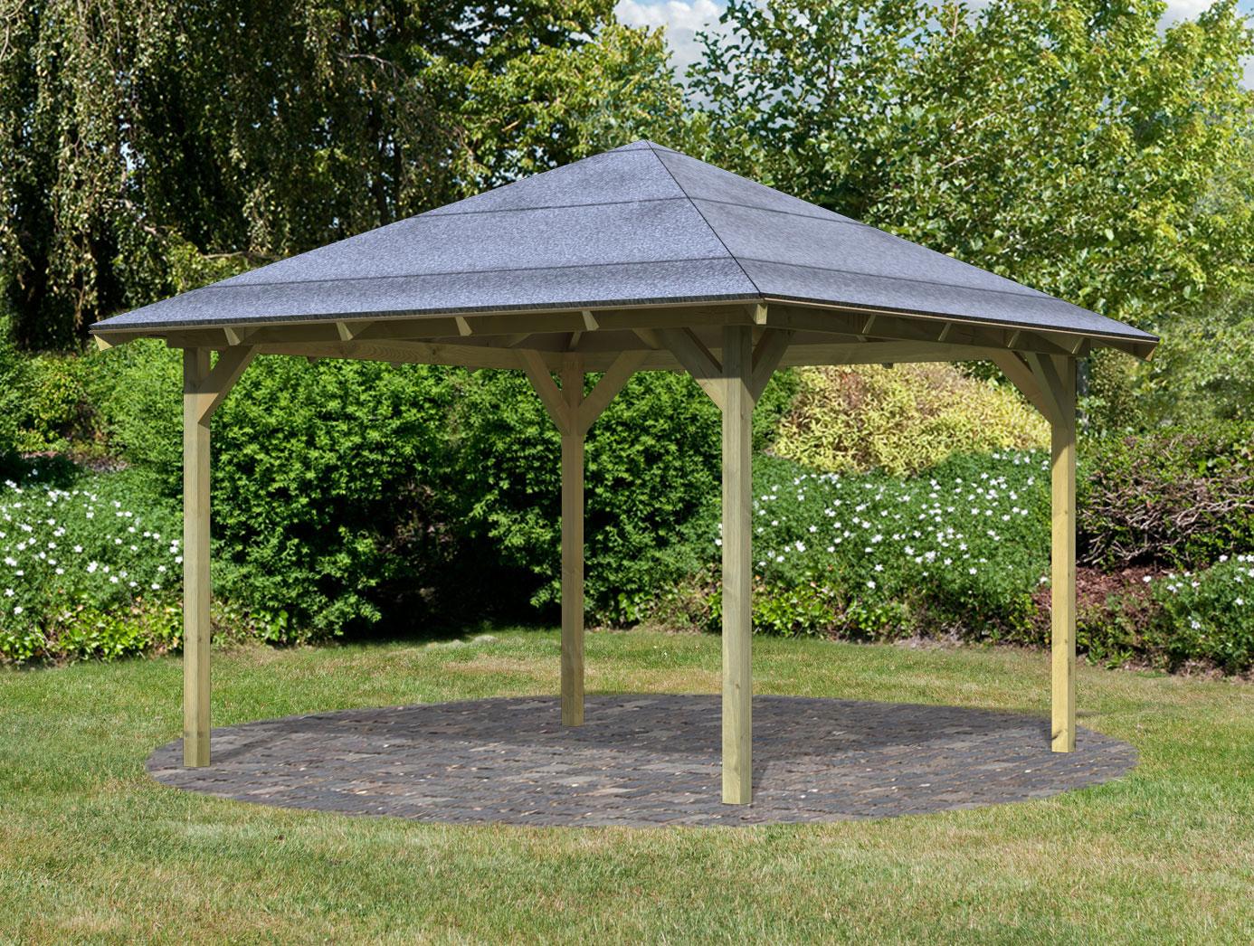 Karibu Holzpavillon Granada kdi 377x377cm Bild 1