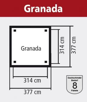 Karibu Holzpavillon Granada kdi 377x377cm Bild 2