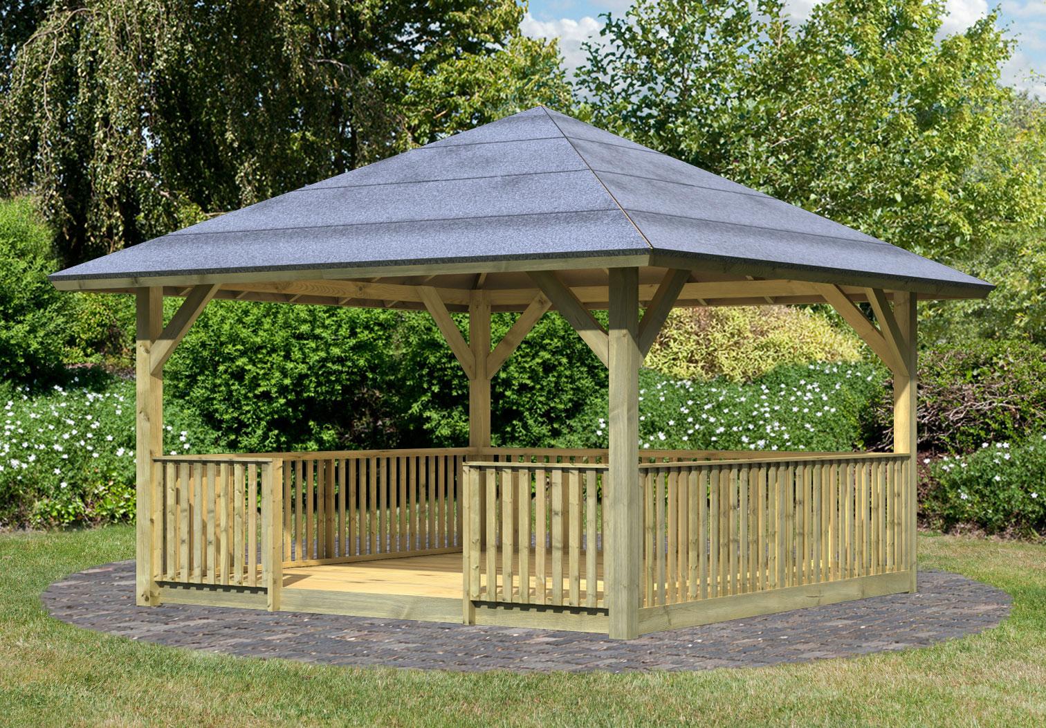 karibu holzpavillon holm 1kdi 431x431cm set bei. Black Bedroom Furniture Sets. Home Design Ideas