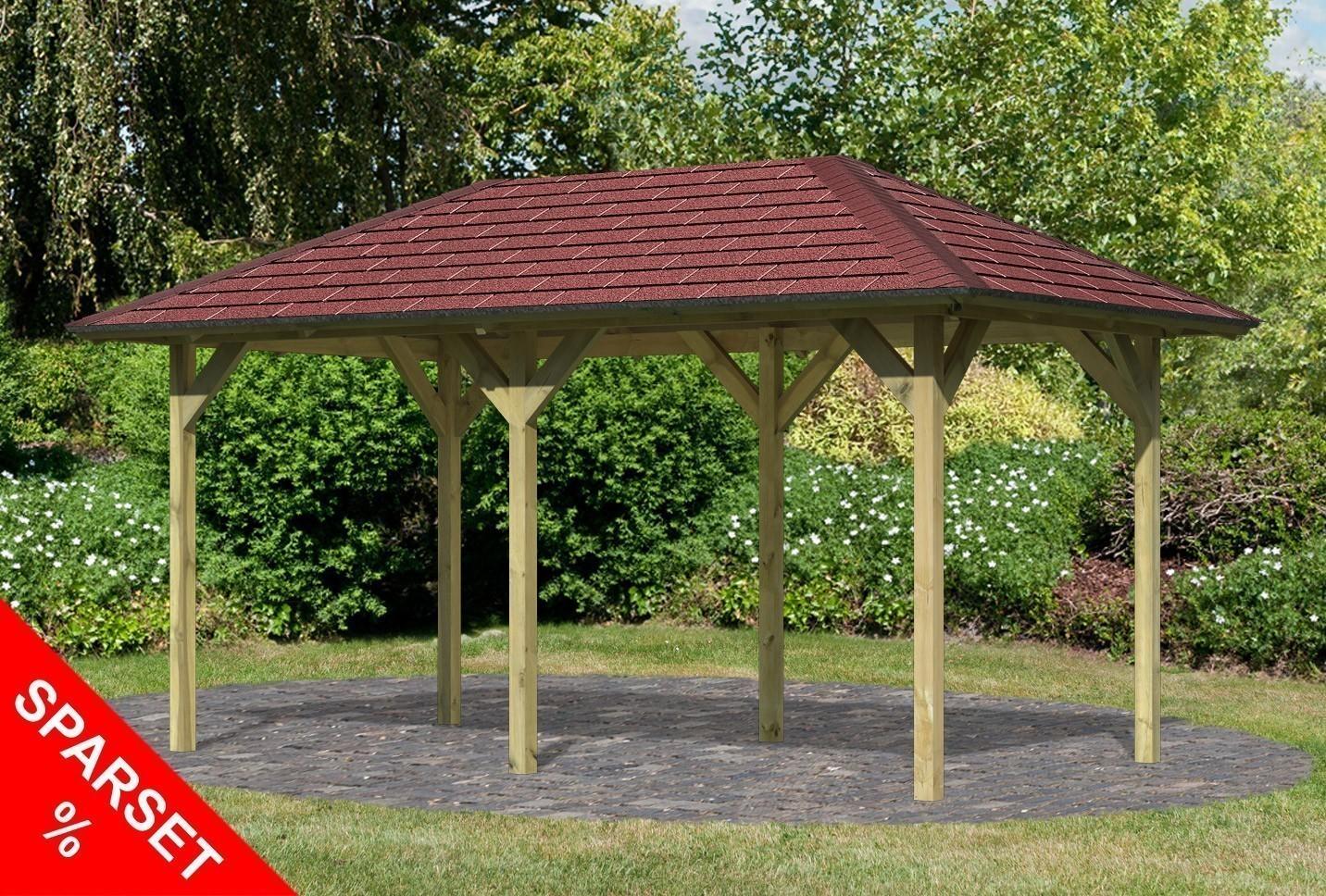 karibu holzpavillon lillehammer 2 kdi 491x284cm sparset mit schindeln bei. Black Bedroom Furniture Sets. Home Design Ideas