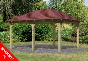 Karibu Holzpavillon Perida kdi 485x354cm SPARSET mit Schindeln Bild 1