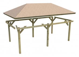 Karibu Holzpavillon Perida kdi 485x354cm SPARSET mit Schindeln Bild 2
